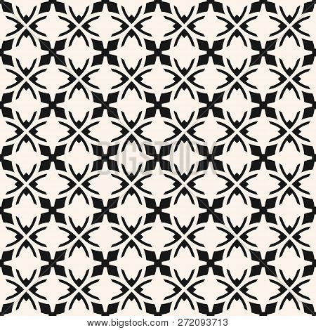 Vector Abstract Ornamental Seamless Pattern. Elegant Monochrome Texture In Gothic Style. Black And W