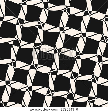 Vector Seamless Pattern With Diagonal Grid, Cross Lines, Ropes. Abstract Black And White Geometric T