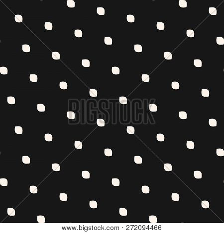 Polka Dot Seamless Pattern. Simple Minimalist Black And White Background. Vector Monochrome Subtle T