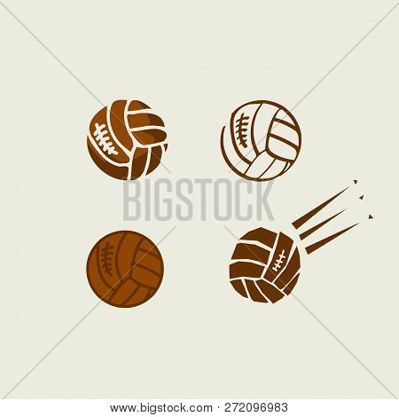 Volleyball Balls Color Illustrations Set. Hand Drawn, Silhouette, Outline, Cartoon Brown Cliparts. V