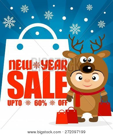 Ew Year Sale Background Upto 60 % Off With Child In Costume Deer.vector Illustration