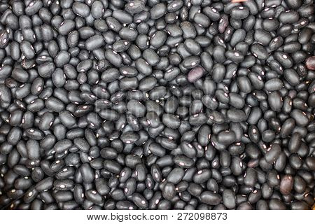 Black Beans. A Lot Of Black Beans For The Background, Black Bean Texture.