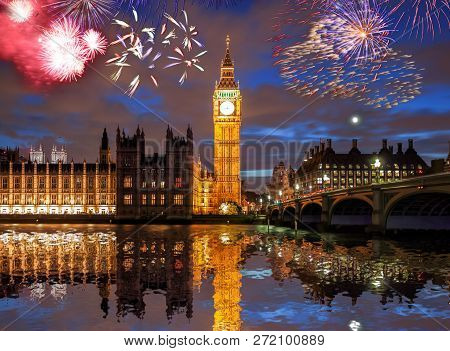 Big Ben With Firework In London, England (celebration Of The New Year)