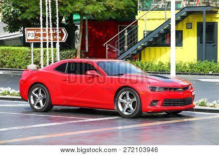 Dubai, Uae - November 16, 2018:  American Muscle Car Chevrolet Camaro In The City Street.