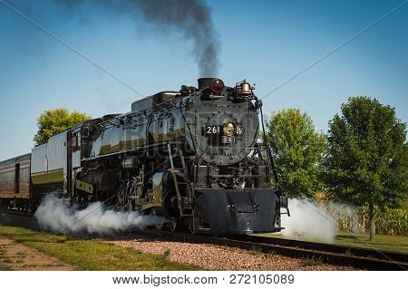 Bongards, Mn - September 8, 2018: The Milwaukee Road #261 Steam Train Builds Up Steam In Preparation