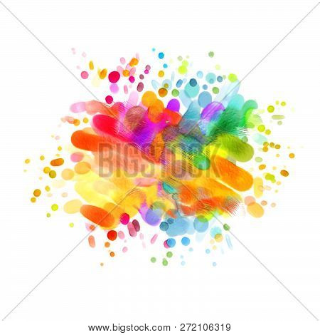 Abstract Oil Painting. Blot. Blurred Spot. Blob. Blank Colorful Blotch. Freehand Drawing