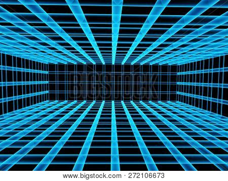 Abstract background with tunnel from lattice of blue color. 3d render