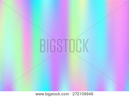 Hologram Magic Dreamy Vector Background. Rainbow Holographic Gradient Overlay, Trendy Iridescent Gir