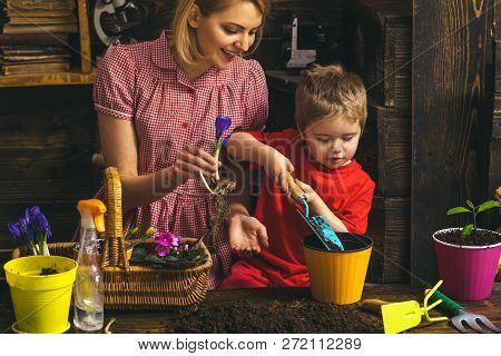 Gardening Concept. Little Child Help Mother Planting Flower In Pot With Gardening Tool. Organic Gard