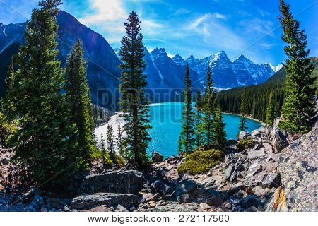 Lake Moraine with icy water of emerald color in the Valley of the Ten Peaks. Park Banff, Canadian Rockies, Province of Alberta