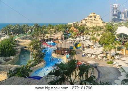 Dubai, Uae - Oct 16, 2018: People Visiting The Aquaventure Water Park In Dubai. It Is A Waterpark In