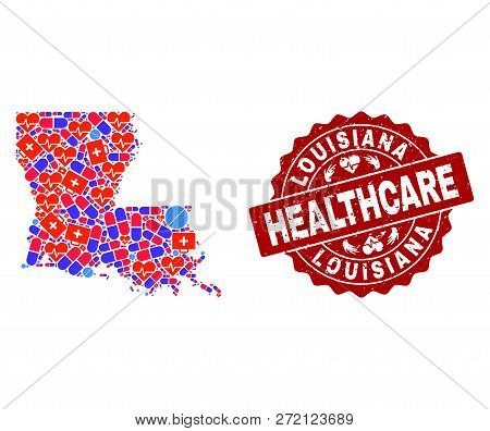 Healthcare Composition Of Bright Medical Mosaic Map Of Louisiana State And Rubber Seal Stamp. Vector