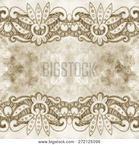 Lacy elegant watercolor border. Lacy vintage trim. Hand draw illustration. poster