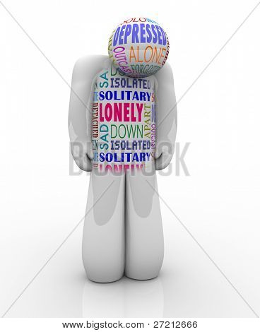A person with words on his chest related to his feelings of emotional detachment: alone and lonlienss, isolated, detached, unloved and deserted poster
