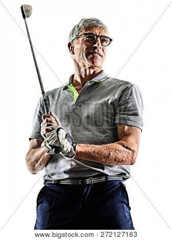 senior man golfer golfing  shadow silhouette isolated white back