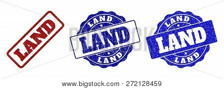 Land Scratched Stamp Seals In Red And Blue Colors. Vector Land Labels With Grainy Texture. Graphic E