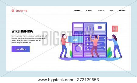 Web Site Onboarding Screens. Developers Build Website Wireframe Interface. Menu Vector Banner Templa