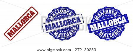 Mallorca Scratched Stamp Seals In Red And Blue Colors. Vector Mallorca Labels With Distress Effect.