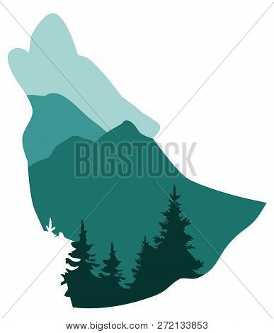Vector Illustration Of A Wolf Animal Silhouette. Forest, Mountain, Howling Wolf Background.