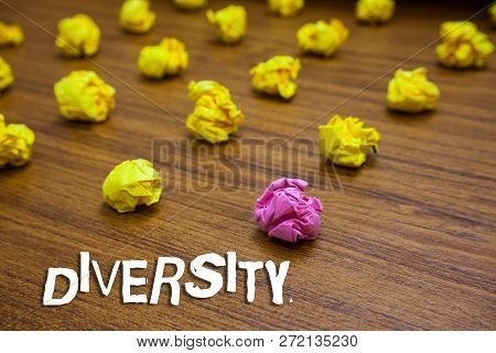 Conceptual Hand Writing Showing Diversity. Business Photo Showcasing State Of Being Diverse Range Di