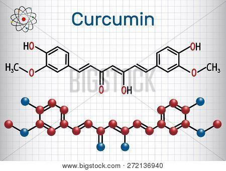 Curcumin Molecule. Sheet Of Paper In A Cage. Structural Chemical Formula. Vector Illustration  Curcu