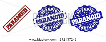 Paranoid Grunge Stamp Seals In Red And Blue Colors. Vector Paranoid Labels With Grunge Effect. Graph