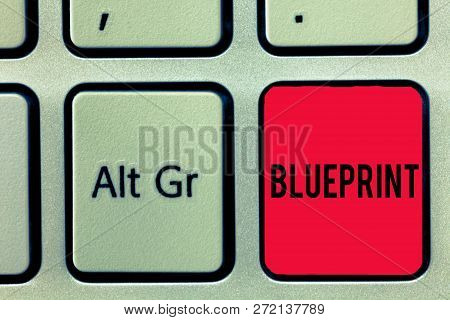 Word Writing Text Blueprint. Business Concept For Design Plan Or Other Technical Drawing By Engineer