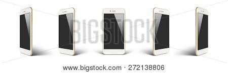 Perspective Concept Of White Gold Empty Screen Smartphone Isolated On White Background With Shadow