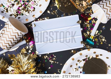 Empty Light Box With Party Cup,party Blower,tinsel,confetti.fun Celebrate New Year Holiday Or Birthd
