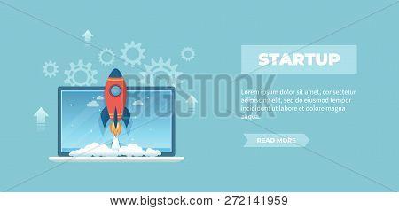 Rocket Launch From Laptop Screen. Business Project Startup, Financial Planning, Idea Development Pro