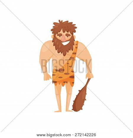 Stone Age Prehistoric Man With Cudgel, Primitive Cavemen Cartoon Character Vector Illustration On A