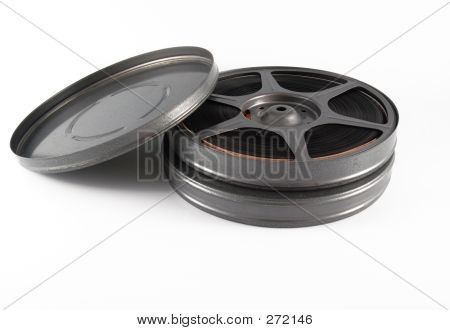 16mm film reel and canisters poster