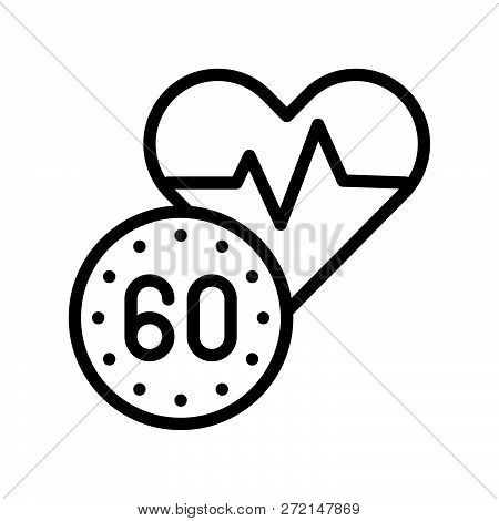 Heart And 60 Sec Sign, Outline Icon Heart Signal And Heart Rate Concept.