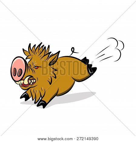 Stock Illustration Wild Ferocious Pig on a White Background poster
