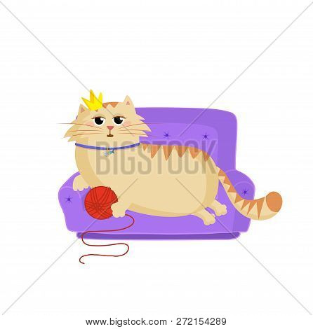 Vector Illustration Of Cute Cartoon Ginger Female Cat Girl Character Lying On The Sofa With Red Ball