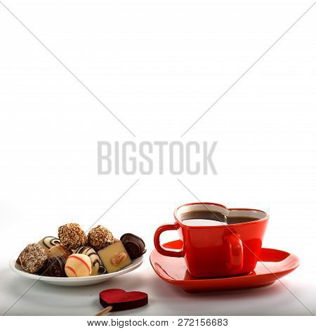 Red Heart Cup With Wooden Homemade Hearts And Coffee, Sweets. White Background. Valentine Day Concep