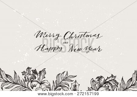 Vector Christmas Banner With Conifers Illustration. Vintage Invitation Or Greeting Card With Hand Dr