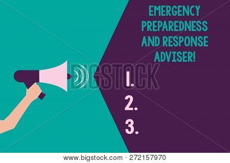 Writing Note Showing Emergency Preparedness And Response Adviser. Business Photo Showcasing Be Prepa
