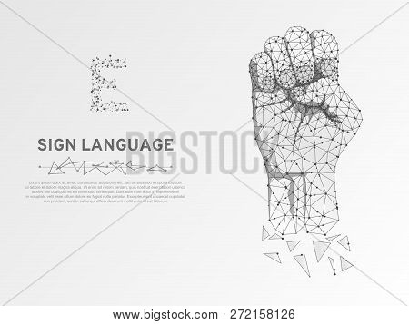 Origami Sign Language E Letter, Hand That Use The Visual-manual Modality To Convey Meaning. Polygona