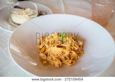Dish Of Ragout Tagliatelle Handmade In A Restauarnt, Italian Food