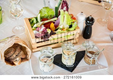Wooden Box Of Organic Vegetables In A Restaurant