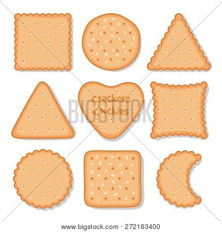 Biscuit Cookie Snacks. Vector Cookies Biscuits For Teatime Isolated On White, Breakfast Dessert Past