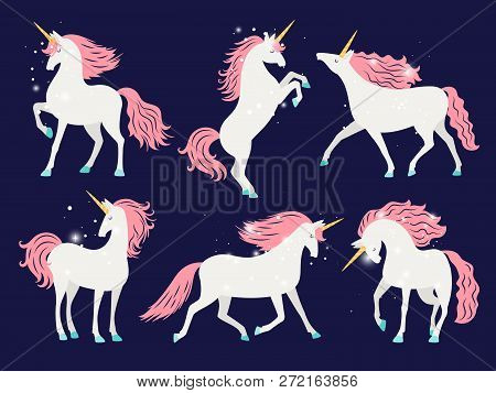 White Unicorn With Pink Mane. Cartoon Pretty Unicorn Horse Isolated On Background With Rose Mane For