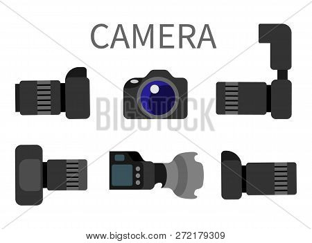 Professional Digital Photocameras Set With Lens Front And Side View Isolated On White. Studio Photog
