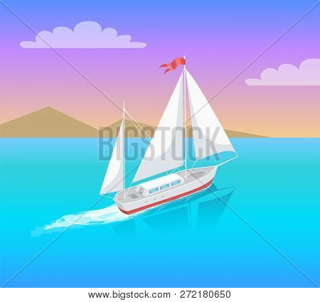 Yacht With White Canvas Sailing In Deep Blue Waters And Leave Trace Vector On Backdrop Of Mountains.