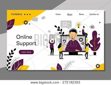 Online Support Landing Page, 24h Customer Service For Web Page, Hotline Technical Support, Virtual H
