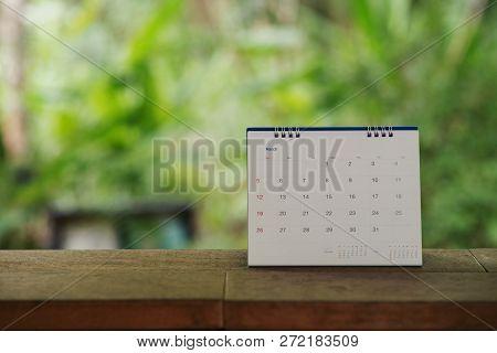 Desktop Calendar 2019 Place On Wooden Office Desk,green Nature Background.calender For Planner Timet