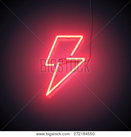 Bright Flash. Neon Sign Of Lightning Signboard On The Red Background. Ready For Your Design, Icon, B