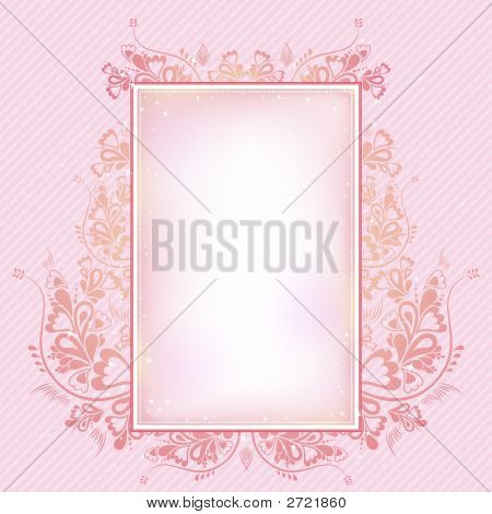 Pink  Background With Lovely Decorative Ornament