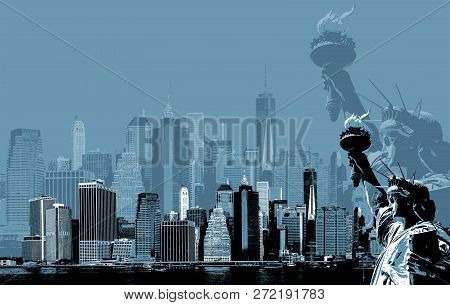 Abstract Image Of Manhattan. Symbols Of New York. Manhattan Skyline And The Statue Of Liberty  Nyc.